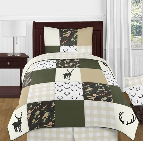 Green and Beige Deer Buffalo Plaid Check Woodland Camo Boy Twin Kid Childrens Bedding Comforter Set by Sweet Jojo Designs - 4 pieces - Rustic Camouflage - Click to enlarge