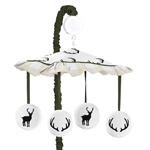 Green and Beige Rustic Deer Buffalo Plaid Check Musical Baby Crib Mobile for Woodland Camo Collection by Sweet Jojo Designs
