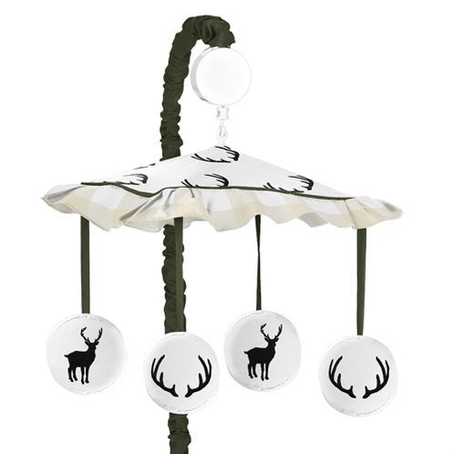 Green and Beige Rustic Deer Buffalo Plaid Check Musical Baby Crib Mobile for Woodland Camo Collection by Sweet Jojo Designs - Click to enlarge