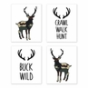 Green and Beige Rustic Deer Wall Art Prints Room Decor for Baby, Nursery, and Kids for Woodland Camo Collection by Sweet Jojo Designs - Set of 4 - Crawl, Walk, Hunt, Buck Wild