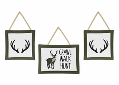 Green and Beige Rustic Deer Wall Hanging Decor for Woodland Camo Collection by Sweet Jojo Designs - Set of 3