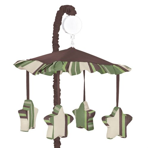 Green and Brown Ethan Modern Musical Baby Crib Mobile by Sweet Jojo Designs - Click to enlarge