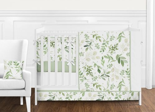 Green and White Boho Tropical Leaves Watercolor Floral Leaf Baby Girl or Boy Nursery Crib Bedding Set with Bumper by Sweet Jojo Designs - 9 pieces - Botanical Woodland Garden - Click to enlarge