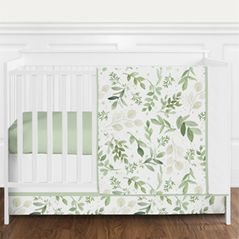 Green and White Boho Tropical Leaves Watercolor Floral Leaf Baby Girl or Boy Nursery Crib Bedding Set without Bumper by Sweet Jojo Designs - 4 pieces - Botanical Woodland Garden