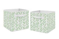 Green and White Floral Leaf Foldable Fabric Storage Cube Bins Boxes Organizer Toys Kids Baby Childrens by Sweet Jojo Designs - Set of 2 - for the Boho Farmhouse Sunflower Collection