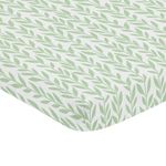 Green and White Leaf Floral Girl Baby Nursery Fitted Mini Portable Crib Sheet by Sweet Jojo Designs For Mini Crib or Pack and Play ONLY - Boho Farmhouse Sunflower Collection