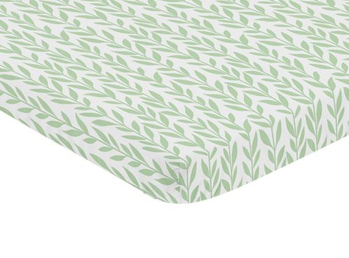 Green and White Leaf Floral Girl Baby Nursery Fitted Mini Portable Crib Sheet by Sweet Jojo Designs For Mini Crib or Pack and Play ONLY - Boho Farmhouse Sunflower Collection - Click to enlarge