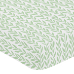 Green and White Leaf Floral Girl Baby or Toddler Nursery Fitted Crib Sheet by Sweet Jojo Designs - Boho Farmhouse Sunflower Collection