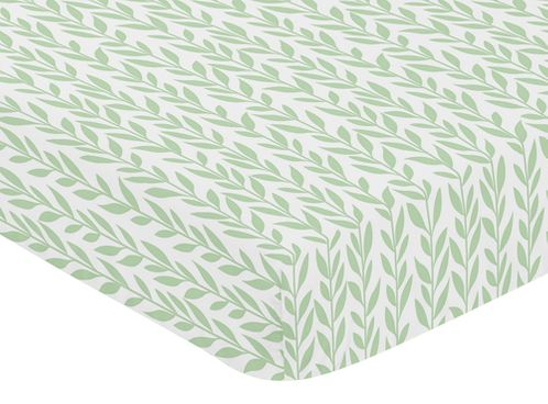 Green and White Leaf Floral Girl Baby or Toddler Nursery Fitted Crib Sheet by Sweet Jojo Designs - Boho Farmhouse Sunflower Collection - Click to enlarge