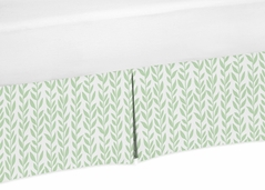 Green and White Leaf Floral Girl Pleated Baby Nursery Crib Bed Skirt Dust Ruffle by Sweet Jojo Designs - Boho Farmhouse Sunflower Collection