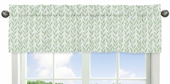 Green and White Leaf Floral Window Treatment Valance by Sweet Jojo Designs - Boho Farmhouse Sunflower Collection