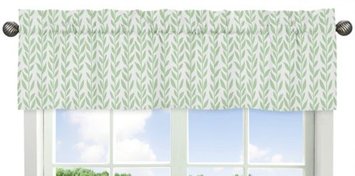 Green and White Leaf Floral Window Treatment Valance by Sweet Jojo Designs - Boho Farmhouse Sunflower Collection - Click to enlarge