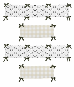 Green, Beige, Black and White Rustic Deer Buffalo Plaid Check Baby Crib Bumper Pad for Woodland Camo Collection by Sweet Jojo Designs