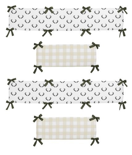 Green, Beige, Black and White Rustic Deer Buffalo Plaid Check Baby Crib Bumper Pad for Woodland Camo Collection by Sweet Jojo Designs - Click to enlarge