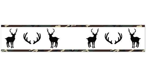 Green, Beige, Black and White Rustic Deer Wallpaper Wall Border for Woodland Camo Collection by Sweet Jojo Designs - Click to enlarge