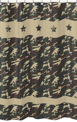 Green Camo Army Camouflage Kids Bathroom Fabric Bath Shower Curtain - Click to enlarge