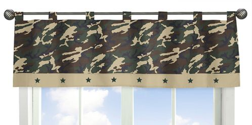 Green Camo Army Camouflage Window Valance by Sweet Jojo Designs - Click to enlarge