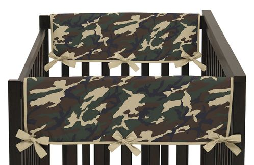 Green Camo Army Military Camouflage Baby Crib Side Rail Guard Covers by Sweet Jojo Designs - Set of 2 - Click to enlarge