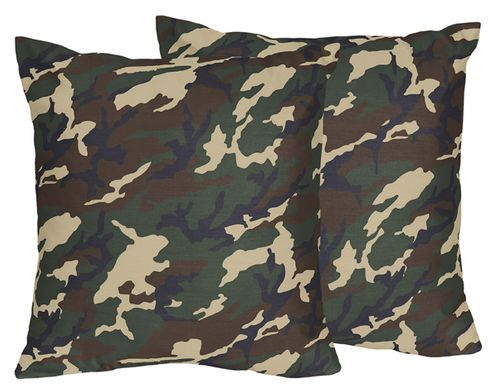 Green Camo Army Military Decorative Accent Throw Pillows - Set of 2 - Click to enlarge