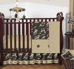 Green Camo Baby Bedding - 11pc Crib Set
