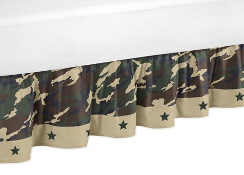 Green Camo Bed Skirt for Toddler Bedding Sets by Sweet Jojo Designs - Click to enlarge