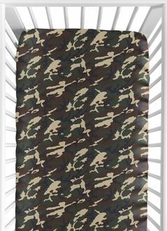 Green Camo Fitted Crib Sheet for Baby and Toddler Bedding Sets by Sweet Jojo Designs - Camo Print