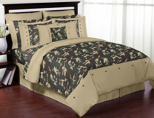 Green Camo Teen Bedding - 3pc Full / Queen Set - Click to enlarge