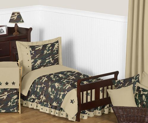 Green Camouflage Toddler Bedding - 5pc Set by Sweet Jojo Designs - Click to enlarge