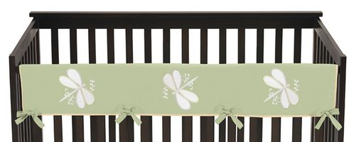 Green Dragonfly Dreams Baby Crib Long Rail Guard Cover by Sweet Jojo Designs - Click to enlarge