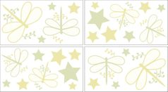 Green Dragonfly Dreams Peel and Stick Wall Decal Stickers Art Nursery Decor by Sweet Jojo Designs - Set of 4 Sheets