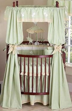 Green Dragonfly Dreams Round Crib Panel and Tie Back Set