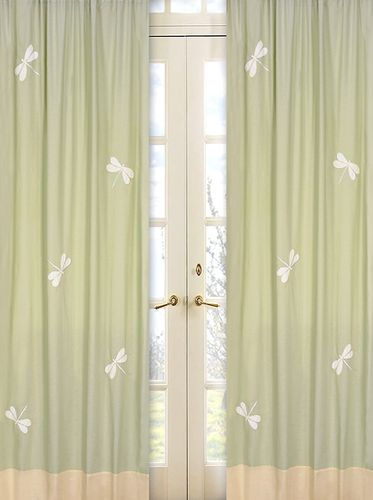 Green Dragonfly Dreams Window Treatment Panels - Set of 2 - Click to enlarge