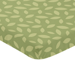 Green Leaf Baby Fitted Mini Portable Crib Sheet for Jungle Time Collection by Sweet Jojo Designs