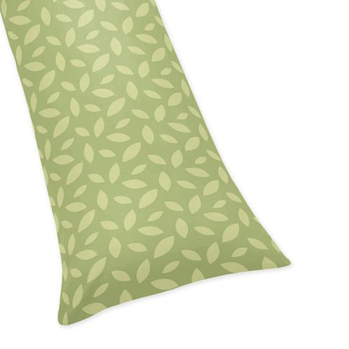 Green Leaf Print Full Length Double Zippered Body Pillow Case Cover for Sweet Jojo Designs Jungle Time Sets - Click to enlarge