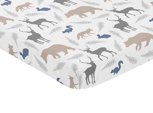 Grey and Blue Baby Fitted Mini Portable Crib Sheet for Woodland Animals Collection by Sweet Jojo Designs - Click to enlarge