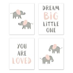 Blush Pink and Grey Wall Art Prints Room Decor for Baby, Nursery, and Kids for Watercolor Elephant Safari Collection by Sweet Jojo Designs - Set of 4 - Dream Big You are Loved