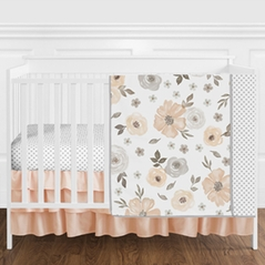 Grey and Peach Watercolor Floral Baby Girl Nursery Crib Bedding Set without Bumper by Sweet Jojo Designs - 4 pieces - Gray, Coral, and White Shabby Chic Rose Flower Polka Dot