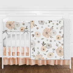 Grey and Peach Watercolor Floral Baby Girl Nursery Crib Bedding Set without Bumper by Sweet Jojo Designs - 5 pieces - Gray, Coral, and White Shabby Chic Rose Flower Polka Dot