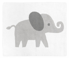 Grey and White Accent Floor Rug or Bath Mat for Blush Pink Watercolor Elephant Safari Collection by Sweet Jojo Designs