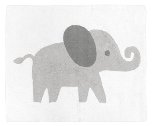 Grey and White Accent Floor Rug or Bath Mat for Mint Watercolor Elephant Safari Collection by Sweet Jojo Designs - Click to enlarge