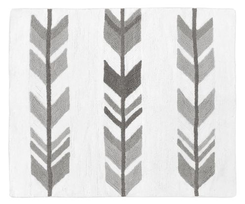 Grey and White Accent Floor Rug or Bath Mat for Woodland Arrow Collection by Sweet Jojo Designs - Click to enlarge