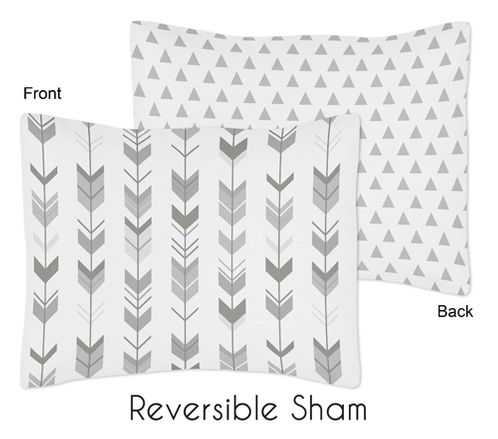 Grey and White Arrow and Triangle Standard Pillow Sham for Woodland Arrow Collection by Sweet Jojo Designs - Click to enlarge