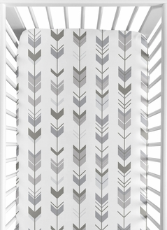 Grey and White Arrow Baby or Toddler Fitted Crib Sheet for Woodland Arrow Collection by Sweet Jojo Designs