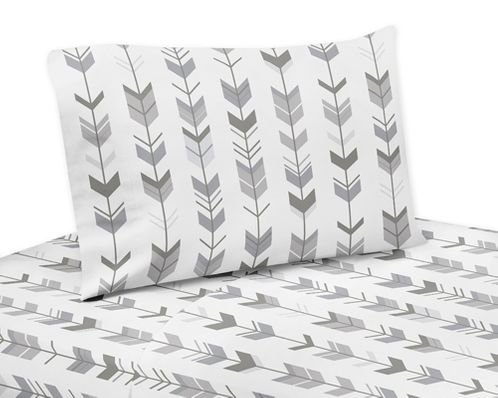 Grey and White Arrow Twin Sheet Set for Woodsy Collection by Sweet Jojo Designs - 3 piece set - Click to enlarge