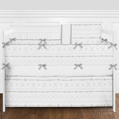 Grey and White Aztec Tribal Boho Unisex Baby Girl or Boy Nursery Crib Bedding Set with Bumper by Sweet Jojo Designs - 9 pieces