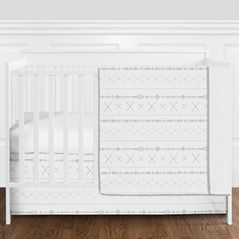 Grey and White Aztec Tribal Boho Unisex Baby Girl or Boy Nursery Crib Bedding Set without Bumper by Sweet Jojo Designs - 4 pieces