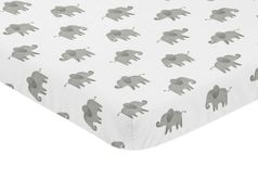 Grey and White Baby Fitted Mini Portable Crib Sheet for Watercolor Elephant Safari Collection by Sweet Jojo Designs