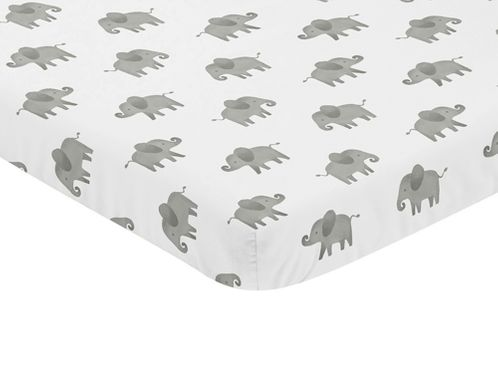 Grey and White Baby Fitted Mini Portable Crib Sheet for Watercolor Elephant Safari Collection by Sweet Jojo Designs - Click to enlarge