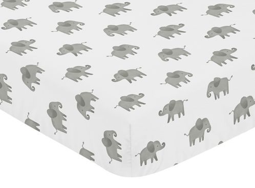 Grey and White Baby or Toddler Fitted Crib Sheet for Blush Pink Watercolor Elephant Safari Collection by Sweet Jojo Designs - Click to enlarge
