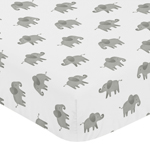 Grey and White Baby or Toddler Fitted Crib Sheet for Blush Pink Watercolor Elephant Safari Collection by Sweet Jojo Designs